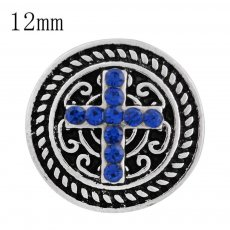 12MM cross snap sliver plated with blue Rhinestone and Enamel KS6249-S interchangeable snaps jewelry