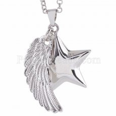 Silver Star-shaped Bell pendant necklace with Angel Wings AC3759S