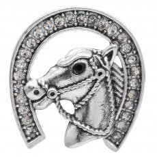 20MM Horse snap with White rhinestones  KC6957 snaps jewelry