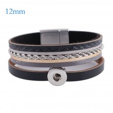 Partnerbeads 7.8 inch 1 snap button leather bracelets fit 12mm snaps KS0633-S