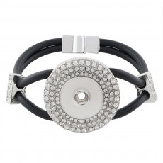 19CM black Silica gel bracelets with rhinestone KC0794 fit 18MM snaps chunks