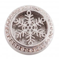 25mm white alloy Snowflake Aromatherapy/Essential Oil Diffuser Perfume Locket snap with 1pc mix color discs as gift