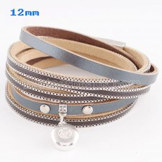 Partnerbeads 39cm 1 snaps button dark gray leather bracelets fit 12mm snaps KS0621-S