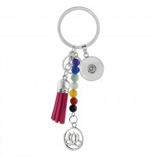 fashion Keychain with pendant and colorful beads fit snaps chunks KC1197 Snaps Jewelry