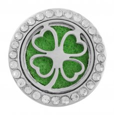 22mm alloy Clover Aromatherapy/Essential Oil Diffuser Perfume Locket snap with 1pc 15mm discs as gift