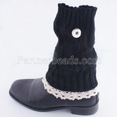 Knitted Leg Warmers fit 20mm snap button KB9785 black