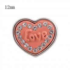 12MM orange loveheart snap Silver Plated with rhinestone KS8040-S snaps jewelry