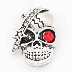 20MM skull snap sliver Plated With red rhinestones KC6700 snaps jewelry