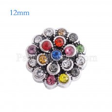 12MM flower snap Antique sliver Plated with Colorful rhinestone KS6125-S Multicolor