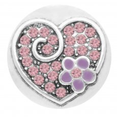 20MM loveheart snap Silver Plated with purple Rhinestone enamel KC7794 snaps jewelry