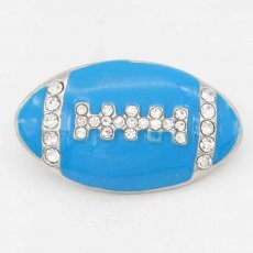 20MM Rugby with blue Francs snap sliver Plated with rhinestones KC6668 snaps jewelry