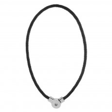 45CM Braided black leather necklace fit snaps