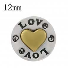 12MM love snap gold Plated KS6351-S snap jewelry
