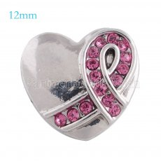 12mm ribbon snaps Silver Plated with rose rhinestone KS5089-S snap jewelry