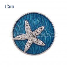 12MM sealife snap with Rhinestone and blue Enamel KS5135-S interchangeable snaps jewelry