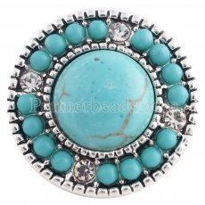 20MM Round snap Silver Plated with green Turquoise stone and Rhinestone KC8667 snaps jewelry