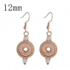 snap Rose Gold earring with rhinestone fit 12MM snaps style jewelry KS1152-S