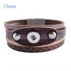 Partnerbeads 7.6 inch 1 snap button leather bracelets fit 12mm snaps KS0641-S