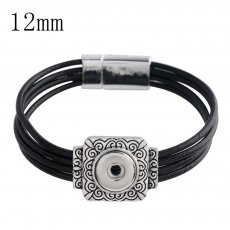 20CM 1 snap button black leather bracelets  fit 12mm snaps KS1138-S