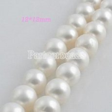 12*12mm freshwater round pearl beads white