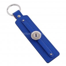 Deep blue leater Keychain Removable buttons fit snaps chunks KC1105 Snaps Jewelry