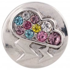 20MM lightning snap silver plated with colorful Rhinestone KC5489 Multicolor