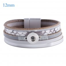 Partnerbeads 7.6 inch 1 snap button leather bracelets fit 12mm snaps KS0638-S