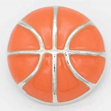 20MM Basketball with orange Francs snap sliver Plated KC6674 snaps jewelry