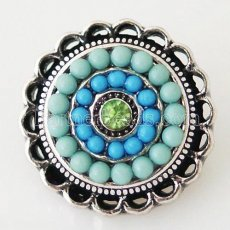 20MM Round snap Antique Silver Plated with rhinestone and blue small beads KB6396 snaps jewelry