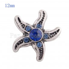 12MM Starfish snap Antique sliver Plated with deep blue rhinestone KS8024-S snaps jewelry