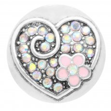20MM loveheart snap Silver Plated with pink Rhinestone enamel KC7793 snaps jewelry