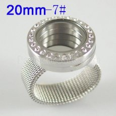Stainless Steel RING  7# size  with Dia 20mm floating charm locket