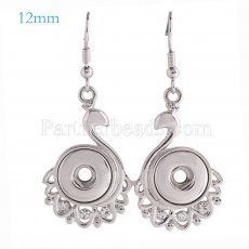 Snaps metal earring with Rhinestones KS0998-S fit 12mm chunks snaps jewelry