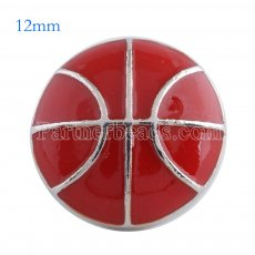 12MM basketball snap Antique Silver Plated with red enamel KS6092-S snaps jewelry