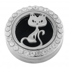22mm white alloy Cat Aromatherapy/Essential Oil Diffuser Perfume Locket snap with 1pc 15mm discs as gift