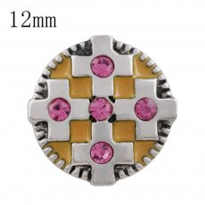 12MM cross snap with pink Rhinestone and yellow Enamel KS5210-S interchangeable snaps jewelry