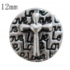12MM cross love snap antique sliver Plated KS6357-S snap jewelry
