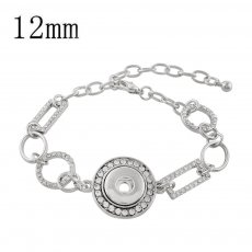 1 buttons snap sliver bracelet with rhinestone fit 12MM snaps jewelry KS1223-S