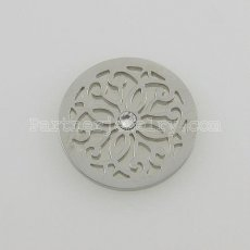 25MM stainless steel coin charms fit  jewelry size flowers with crystal