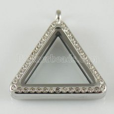 Triangle Stainless steel floating charm locket can open