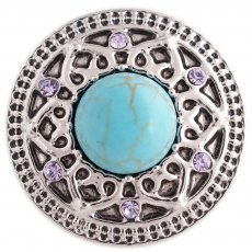 20MM round snap silver Antique plated with rhinestone and green Turquoise KC5374 snaps jewelry