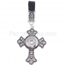 Black pu leater fashion Keychain with cross buttons fit snaps chunks KC1124 Snaps Jewelry