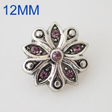 12mm flower snaps Silver Plated with purple rhinestone KB6528-S snap jewelry