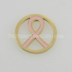 25MM stainless steel coin charms fit  jewelry size pink ribbon