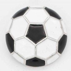 20MM Football with white Francs snap sliver Plated KC6664 snaps jewelry