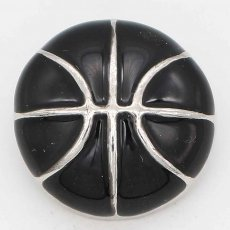 20MM Basketball with black Francs snap sliver Plated KC6672 snaps jewelry