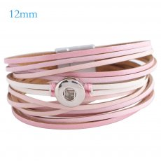 Partnerbeads 7.8 inch 1 snap button pink leather bracelets fit 12mm snaps KS0655-S