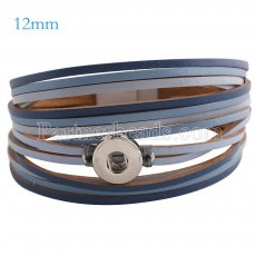 Partnerbeads 7.8 inch 1 snap button deep blue leather bracelets fit 12mm snaps KS0657-S
