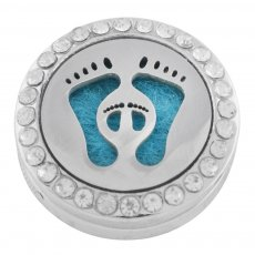 22mm white alloy Foot Aromatherapy/Essential Oil Diffuser Perfume Locket snap with 1pc 15mm discs as gift