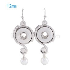 Snaps metal earring with Rhinestones and pearl KS0978-S fit 12mm chunks snaps jewelry